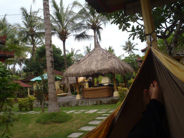 chilling in a hammock in Bali