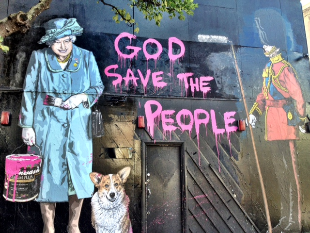 God save the people. Art by Mr Brainwash. London.