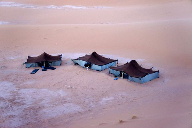 Traditional woolen tents in the Sahara desert