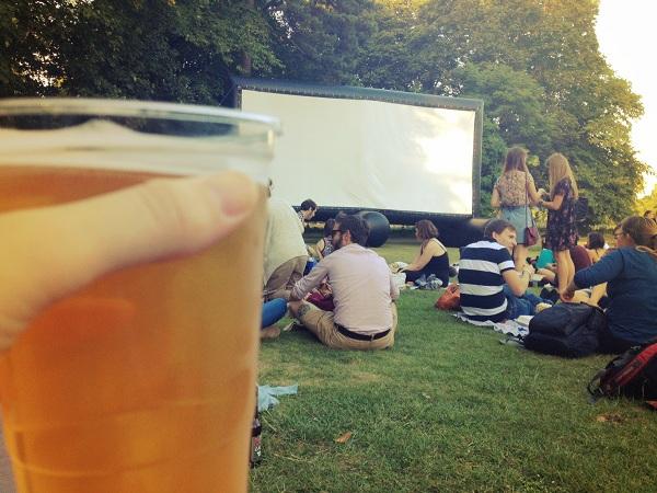 beer in outdoor cinema