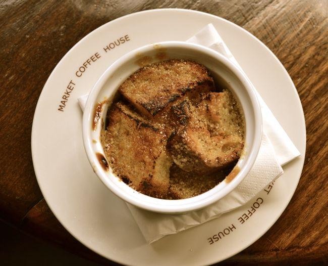 Banana bread pudding at the english restaurant