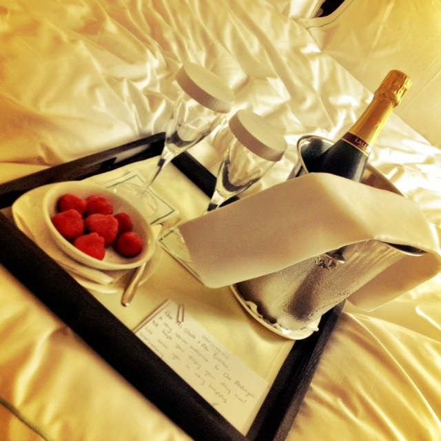 Pre-dinner strawberries and champagne