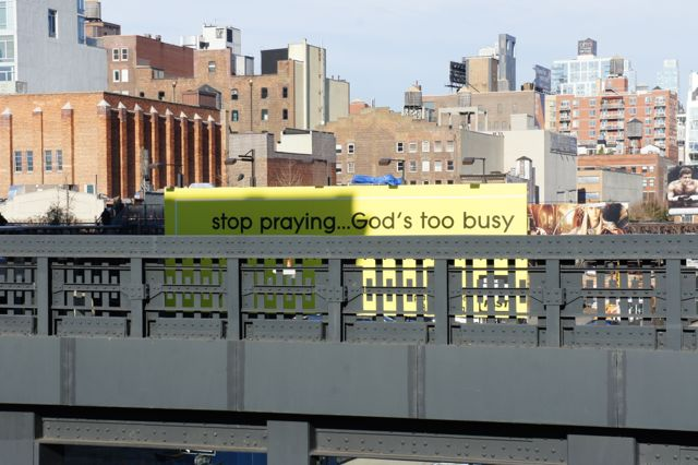 Well placed bill board along the high line New York