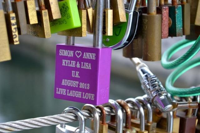 Kylie's lock on the bridge in Ljubljana
