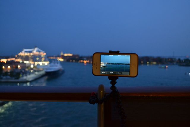Making time lapse videos as we leave the port