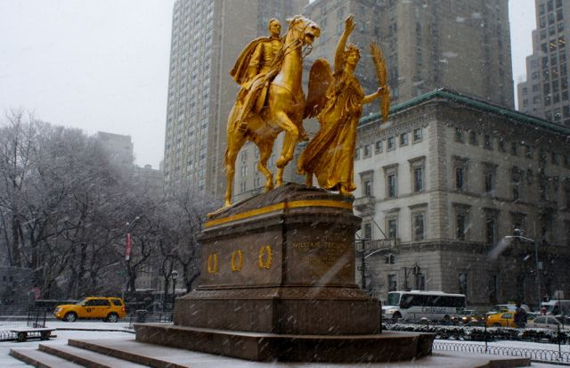 Snowy Gold Statue in New York