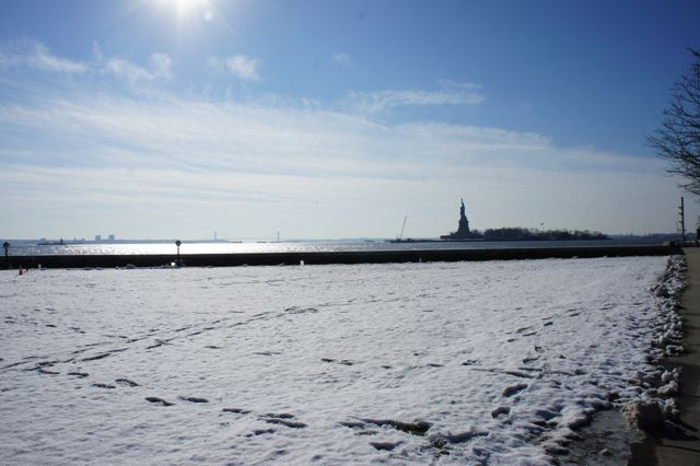 Snowy views to the statue of Liberty