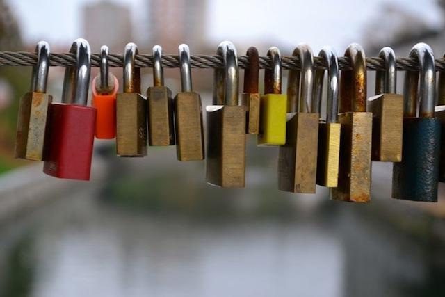 locks on the bridge in Ljubljana