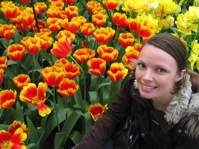 Julie with Falcon Tulips
