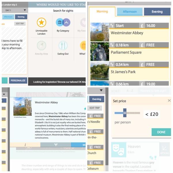 DK trip planner collage