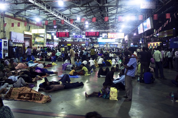 Inside a busy train station in India