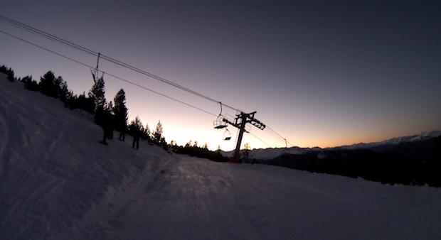 Sunset on the ski slopes in Spain
