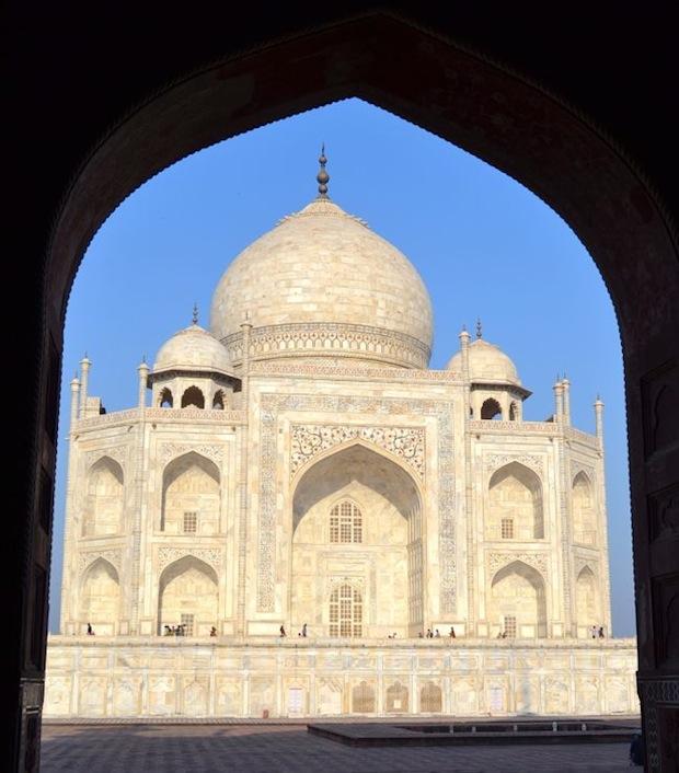 Taj Mahal through an arch