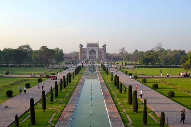 view over the gardens from the Taj Mahal