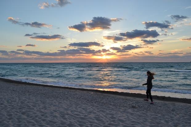 Morning jog Miami Beach