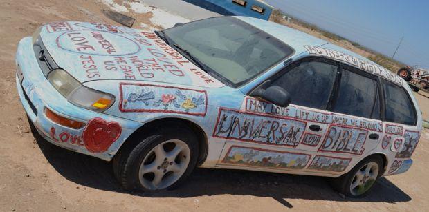 Car at salvation Mountain