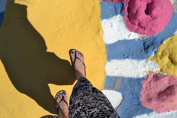 Walking along the yellow brick road at Salvation Mountain