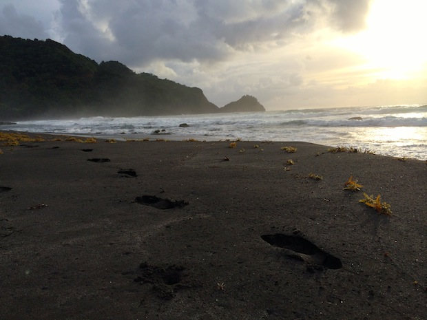 Black sand beach in Dominica