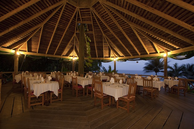 Pavillion restaurant at Jungle Bay Spa and Resort, Dominica, West Indies.