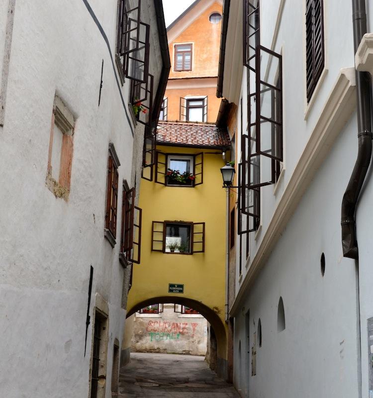 Wonky streets in Skofja Loka