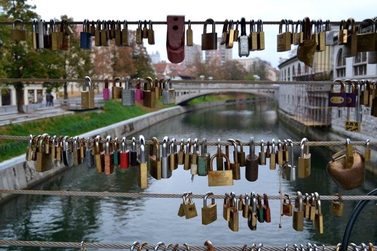 Love locks in Ljubljana