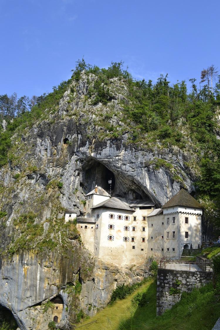 Slovenian castle in the rock