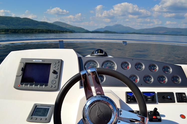 Driving a boat on Loch Lomond