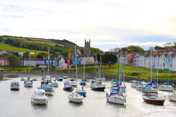 Aberaeron boats and colourful houses