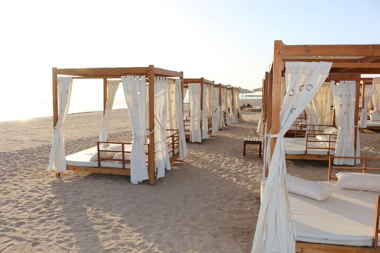 Beach beds at Baron Palace Resort Hurghada Egypt