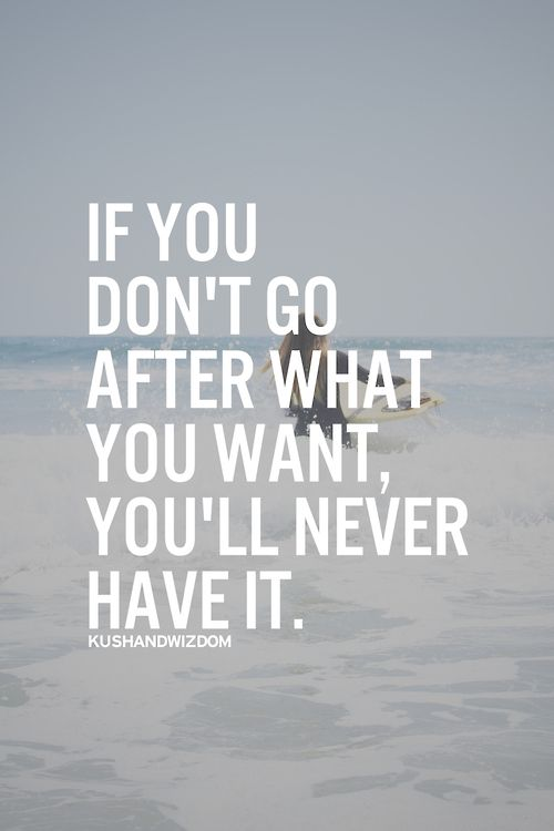 If you don't go after what you want you'll never have it