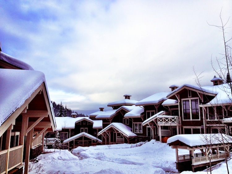 Snow roofs at Sun Peaks in Canada