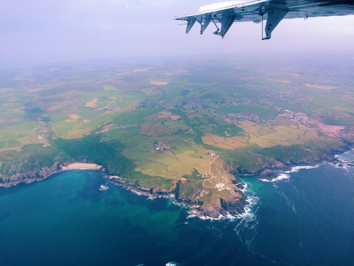 Flying to the Scilly Isles over Newquay on the Skybus