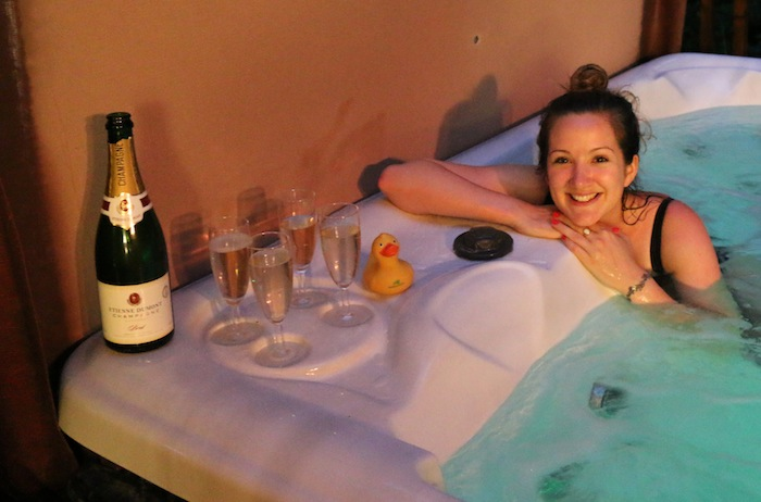 Champagne in the hot tub