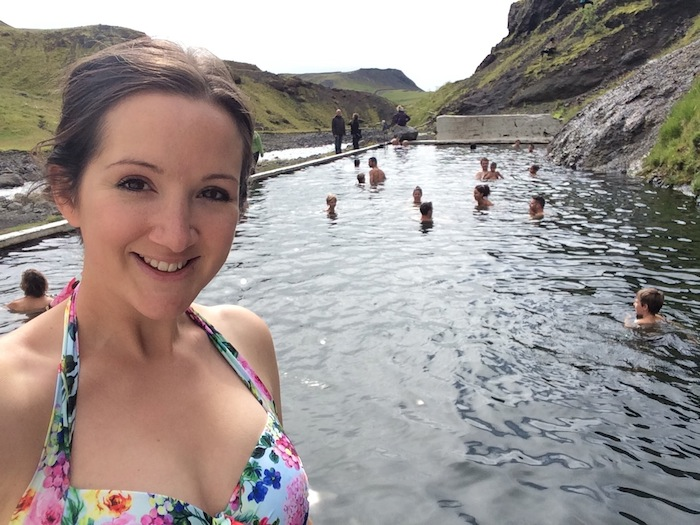The Travel Hack at swimming pool in Iceland