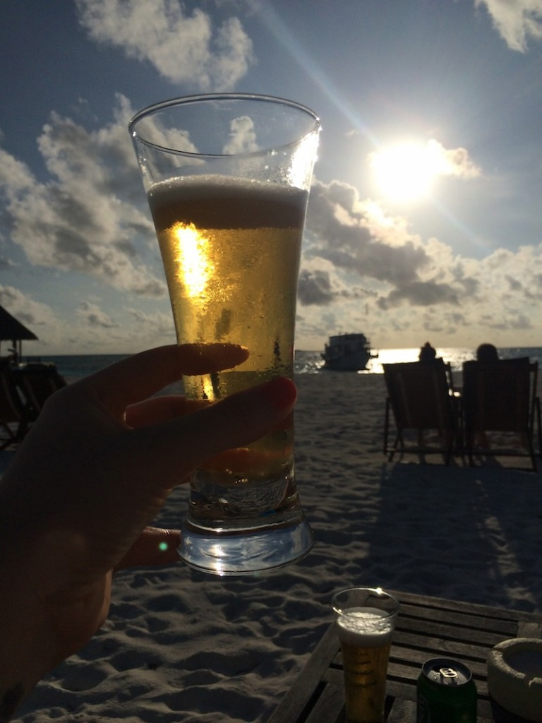 Sunset beers at Coco Palm Dhuni Kolhu