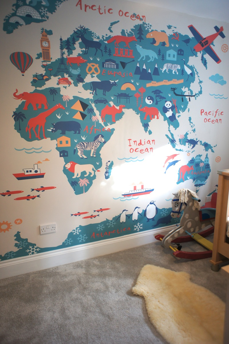World map wall sticker with destination markers at home and amazing vintage world map wall mural perfect decorating a travel themed child us bedroom gumiabroncs Image collections
