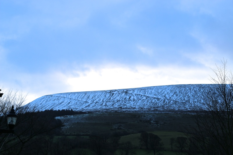 Snow on Pendle Hill from the Assheton Arms Hotel Review