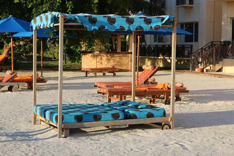 Sun loungers at Hulhule Island Hotel