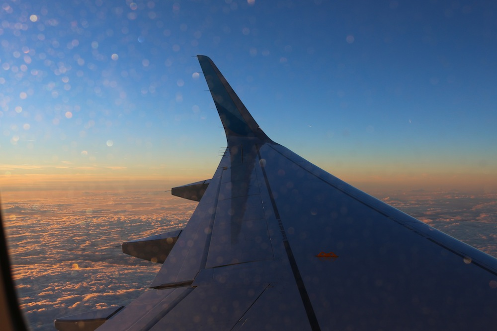 Sunrise from the airplane windwo