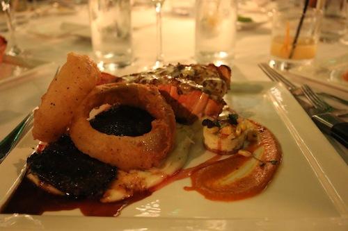 Lobster and steak at Latitudes Restaurant, Key West.