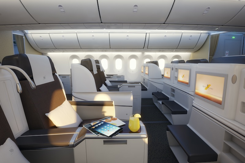 787 Business class cabin Royal Brunei Airlines Review