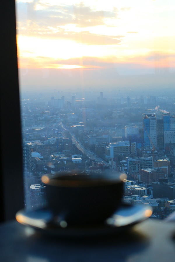 Duck and Waffle coffee and at sunrise