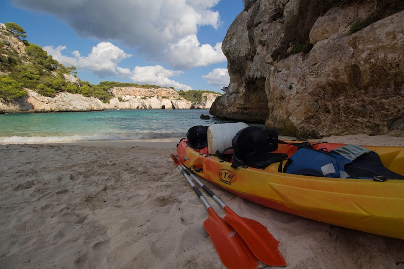 Kayak on the beach in Menorca