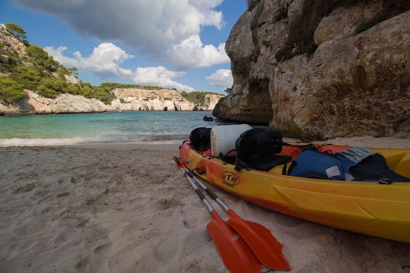 Kayak on the beach in Menorca