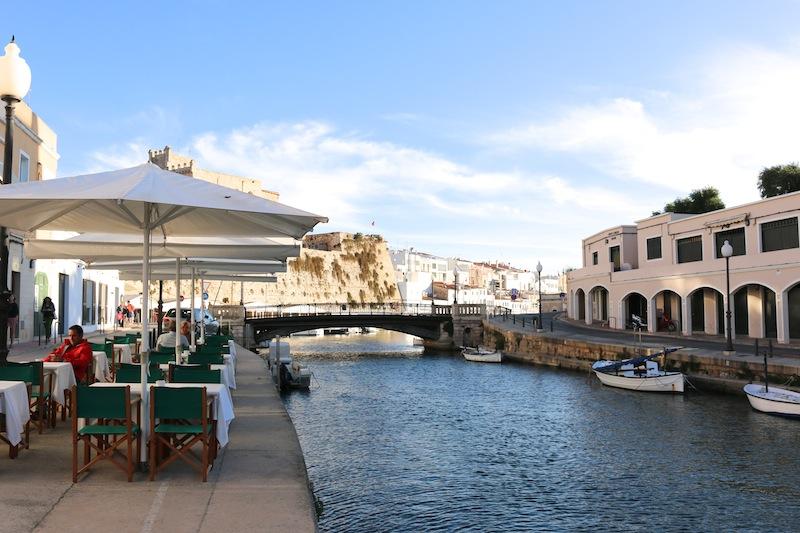 Views outside cafe Balear in Menorca