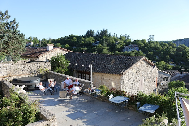 Drinks on the terrace at Chateau de Balazuc