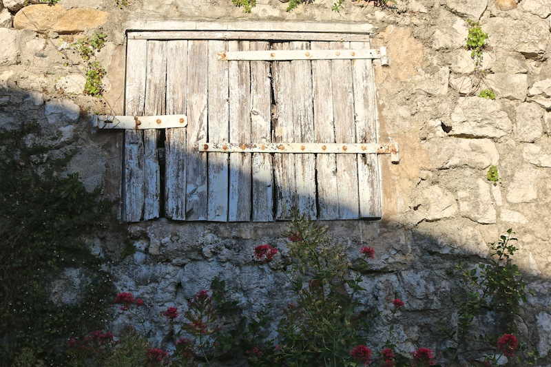 Rustic shutters in Balazuc