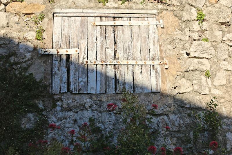 Rustic shutters in Balazuc
