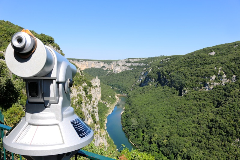 Views over the Ardeche River from Madaline cave