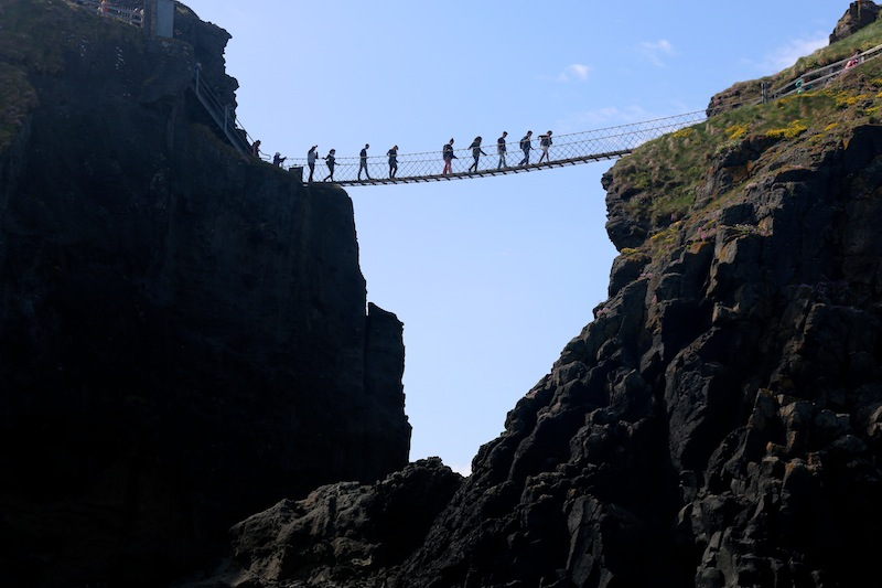 Carrick-a-Rede Rope Bridge spotted from a sea safari